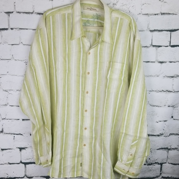 Tommy Bahama Other - Tommy Bahama Green & White Linen Long Sleeve XXL